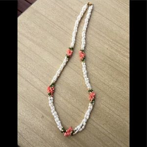Jewelry - Freshwater Pearls & Coral Long 80's Necklace